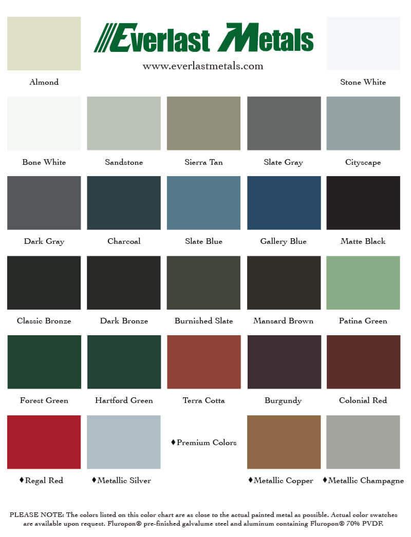Color Chart Everlast Metals